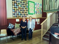 break o' day stitchers exhibition - volunteers and textile artists Beth and Barbara