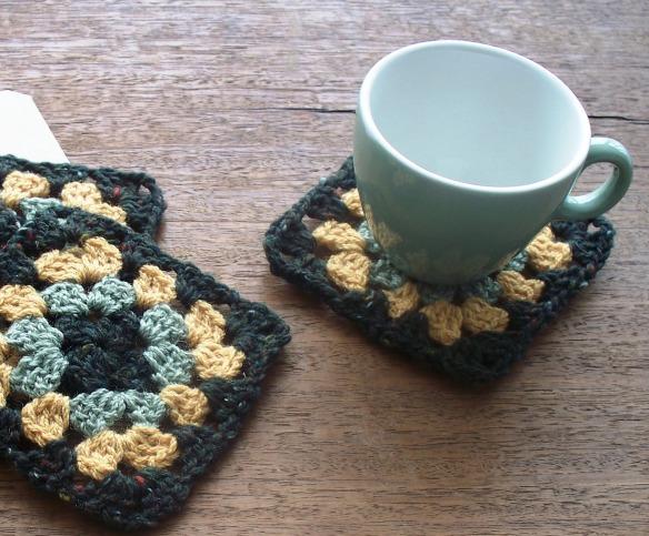 coasters 3c - moss, mustard, jade - rita summers 2013