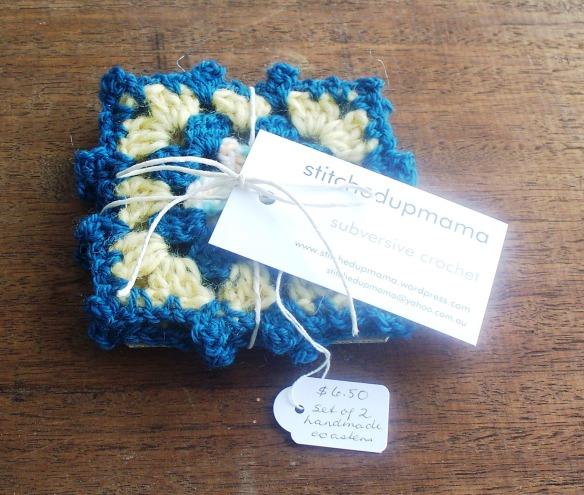 coasters 5b - dusty blue, lemon, variegated - rita summers 2013